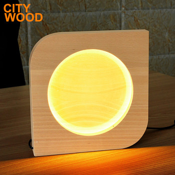 handmade wood table lamp with LED soft light