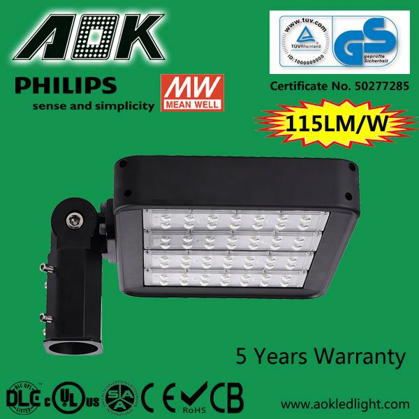 UL DLC TUV SAA Meanwell Driver 480V LED Parking Lot Light, With Lumileds Chip 5 Years Warranty 160W LED Shoe Box Light
