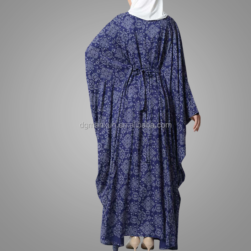 Modern Style Printed Rayon Dress Abaya Women Kaftan Kimono Islamic Clothing Muslim Jalabiya