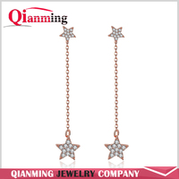 New Design Shinny Star Shape Personalized Drop Earrings with Zircon Long Chain Earring Hanging Star Paragraph Jewelry Women Gift