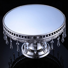 Round silver wedding cake pedestal crystal mirrored dessert display stand