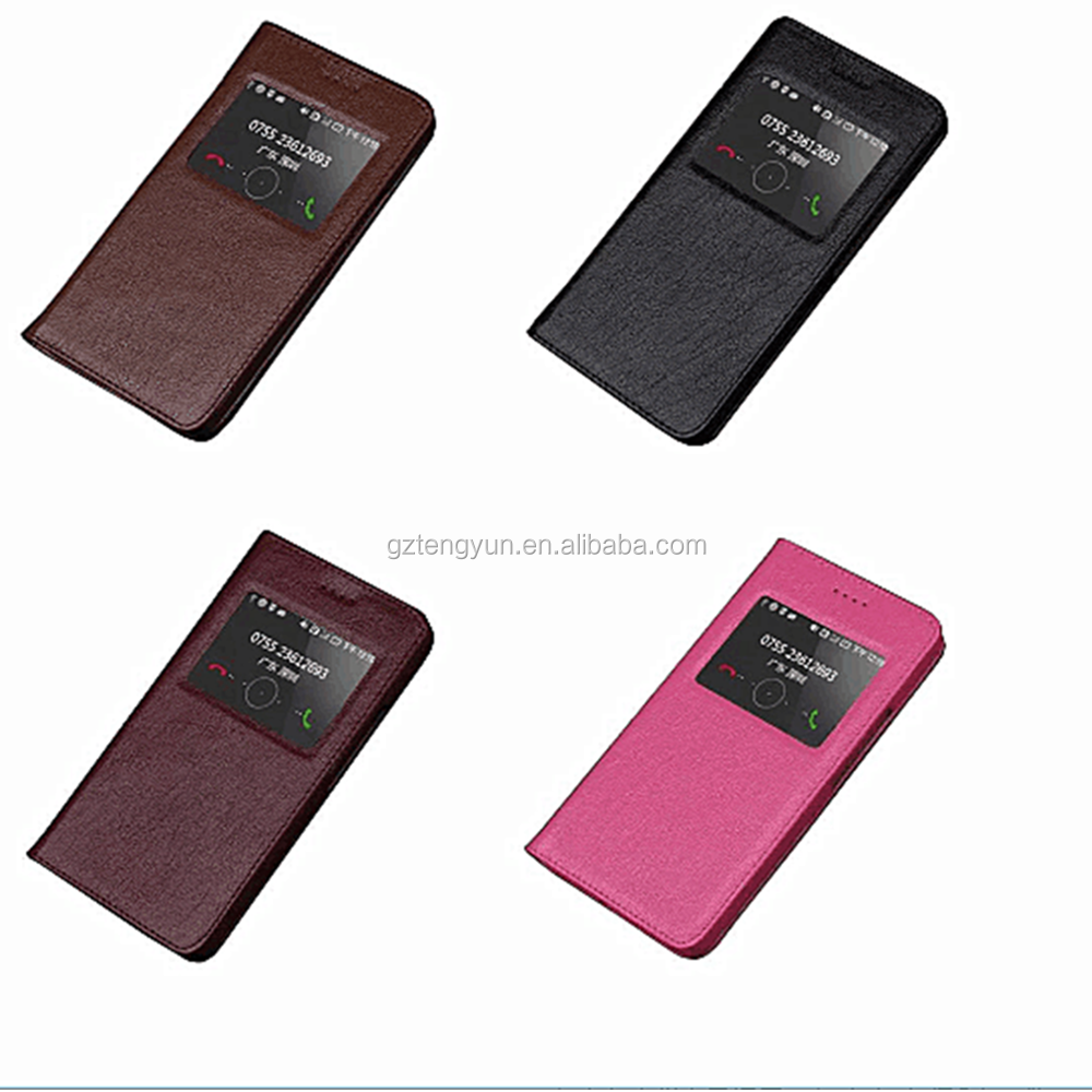 Window pu leather smart case for huawei ascend g620s