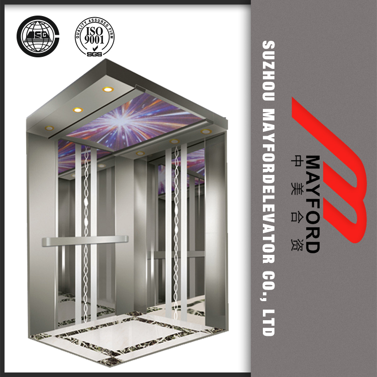 1350kg MRL passenger Lift with Mirror steel Finish