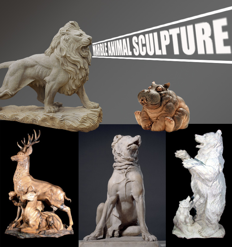 High quality stone deer marble animal statue for garden NTMA-037Y