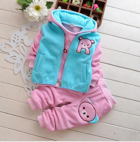 Cotton baby clothes 3pcs set sweet bear printed Baby Warm Winter Clothing suit New born Baby clothes sets