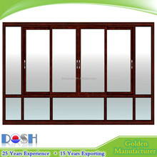 Big Size Wooden Color Aluminum Alloy Sliding Window with Fixed Windows for Villa