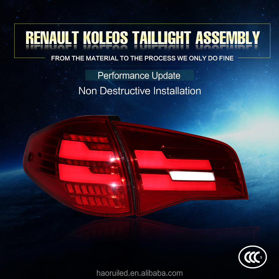 Factory price car led light spare parts 35w red color LED tail lights assembly for 2014 Renault Koleos