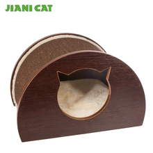 MDF cat shaped durable scratcher house