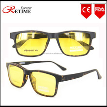 latest optical frames china wholesale cheap without nose pads changeable yellow polarized clip on sunglasses woman(PEI-S-017)