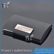 Custom leather gadget business card holder hold 20 cards manufacturer in GuangZhou