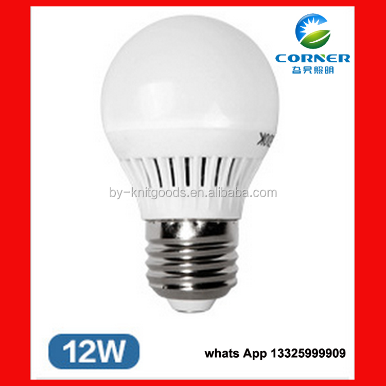 China new energy saving light plastic e27 12W smart led light bulb