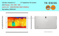 A23 Dual core cpu 9 inch wide screen tablet pc support 32gb max tf card