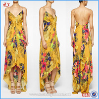 Open back women casual one piece short front long back silk dress in floral print and sexy names of girls maxi dresses