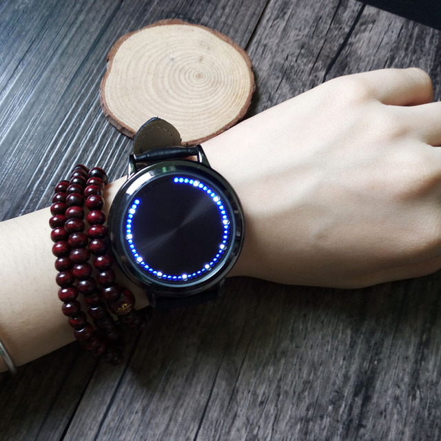 Fashion Leather Band Touch Screen LED Watches For Women/Men with Tree Shaped Dial Blue Light Display Time