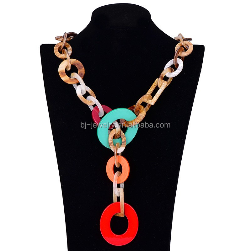 Fashion Acrylic Necklace Women Clothing Chain Statement Necklace <strong>Jewelry</strong>