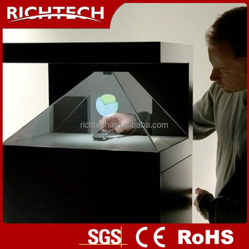 transparent 3d hologram showcase led glass display