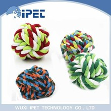 Ipet hot sell popular knots rope running chew pet toy balls