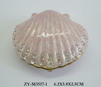 Fashion wholesale pewter metal trinket box, shell shaped box for jewelry