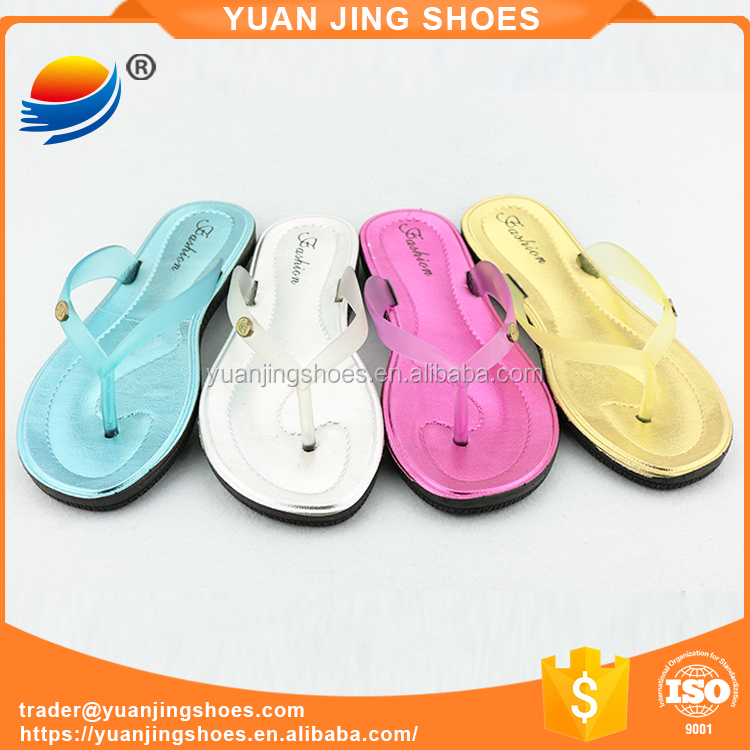 Wholesale Sliver Sharp Color PVC Plastic Jelly Sandals Slippers for Women 1J621+1W