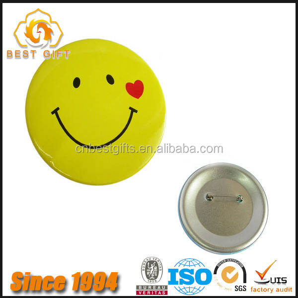 Wholesale Promotional tinplate smiley face Printed pin badge