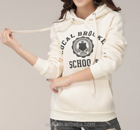 Printing kangaroo pocket hooded draw string fleece womens hoodies