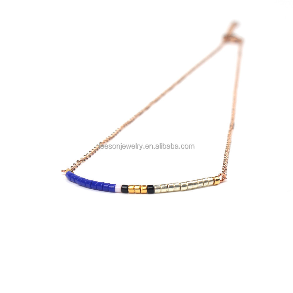 2017 Latest Women Necklaces Handmade Miyuki Seed Bead Necklaces Charm Gold Color Chain Necklaces Jewelry