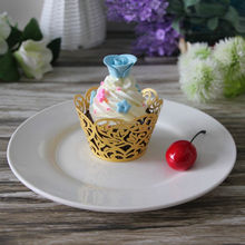 Elegant unique wedding decoration cupcake wrappers, light gold pearl paper cupcake wrappers, laser cutting wedding party favor.