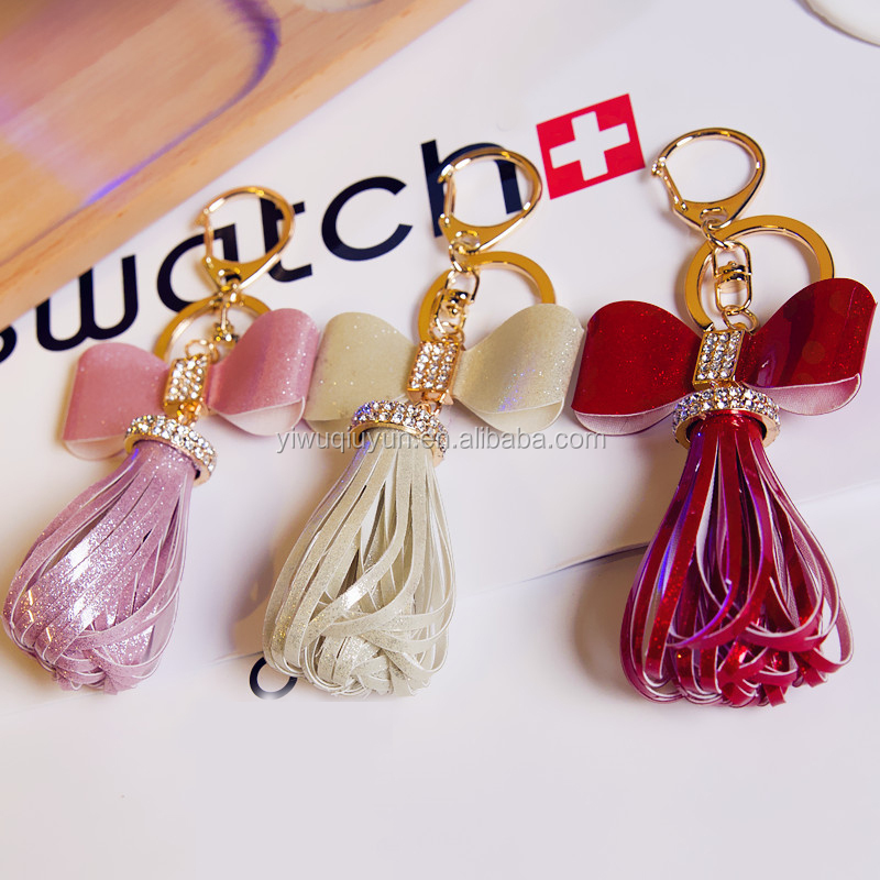 Hot Gold Leather Tassel Keychain For Women Crystal Bowknot Keyring Bag Charm For Keys porte cle llavero sleutelhanger