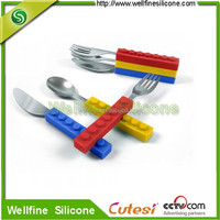 knife, fork, spoon with colorful and Eco-friendly silicone holder and stainless stell