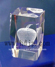 hot shining 3D laser crystal apple for Christmas from China