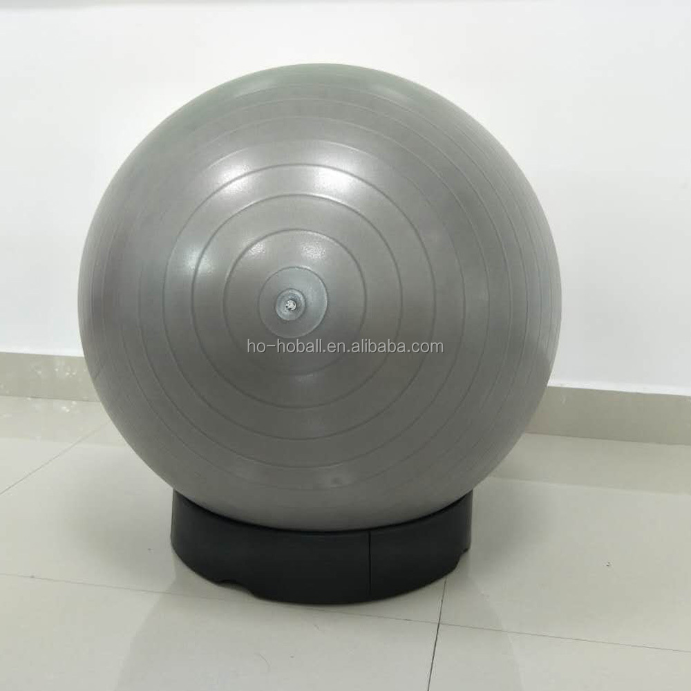 Anti-burst and slip resistant exercise ball with stability base