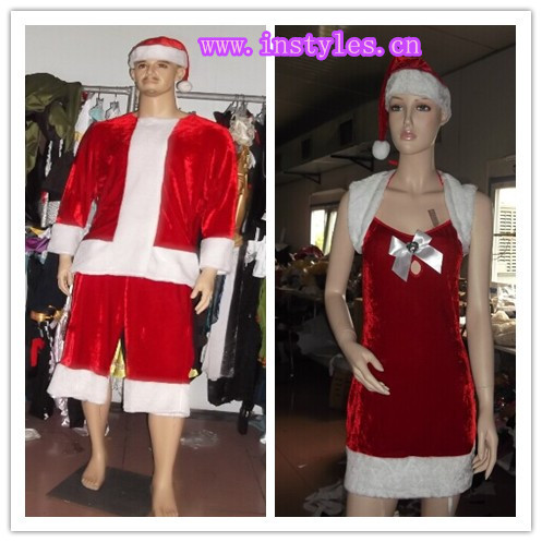 2014 MENS DELUXE SANTA CLAUS CHRISTMAS COSTUME latex catsuit