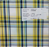 stock check cotton poplin shirting fabric