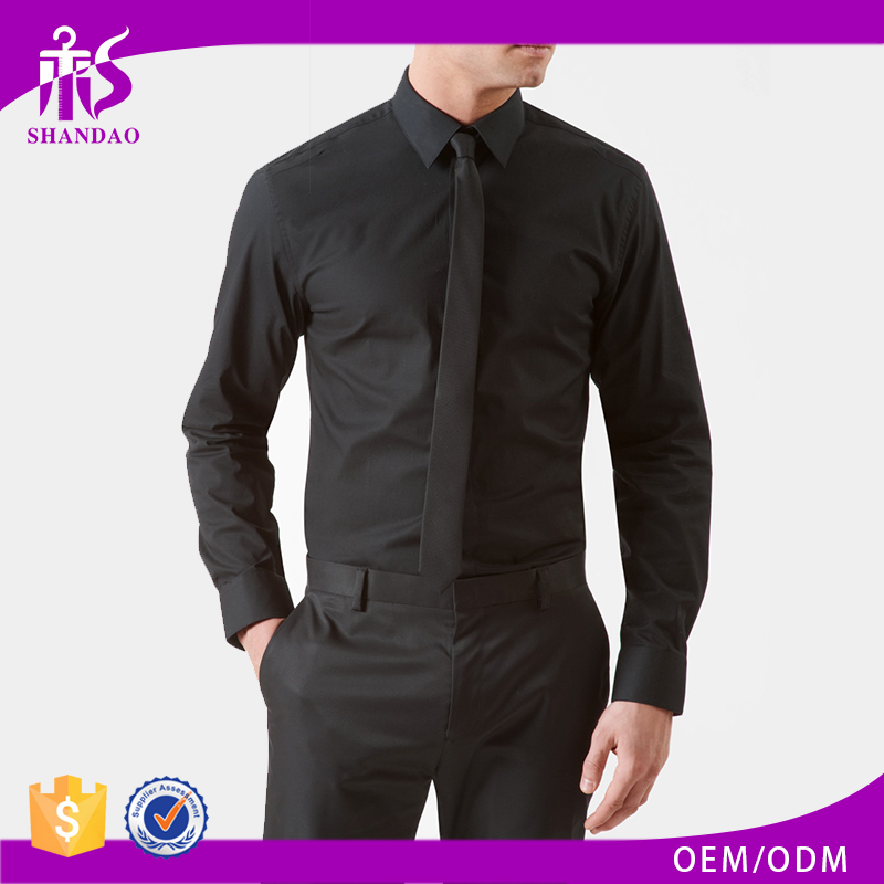 Guangzhou Shandao High Quality Men Solid Color Black Lycra Cotton Formal Long Sleeve Dress Shirts Men