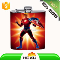 stainless steel 8oz mini hip flask with coating with logo for men