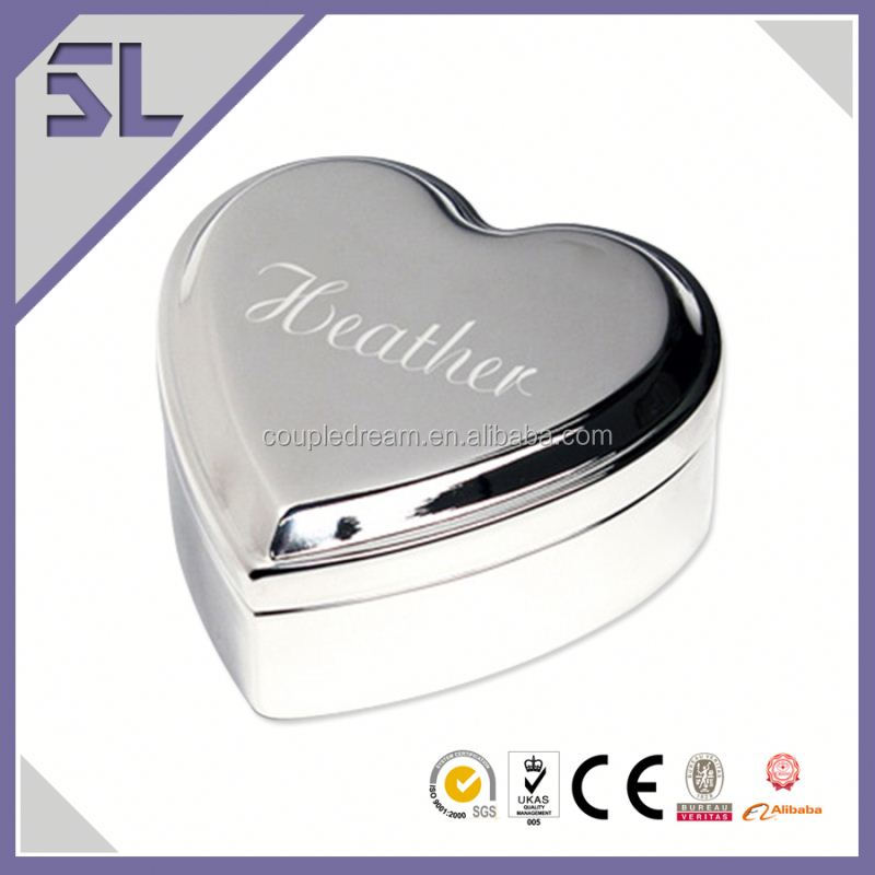 Best Selling Products Jewelry Box Engraved Silver Trinket Box Gold Plated Jewelry Wedding Jewelry Box