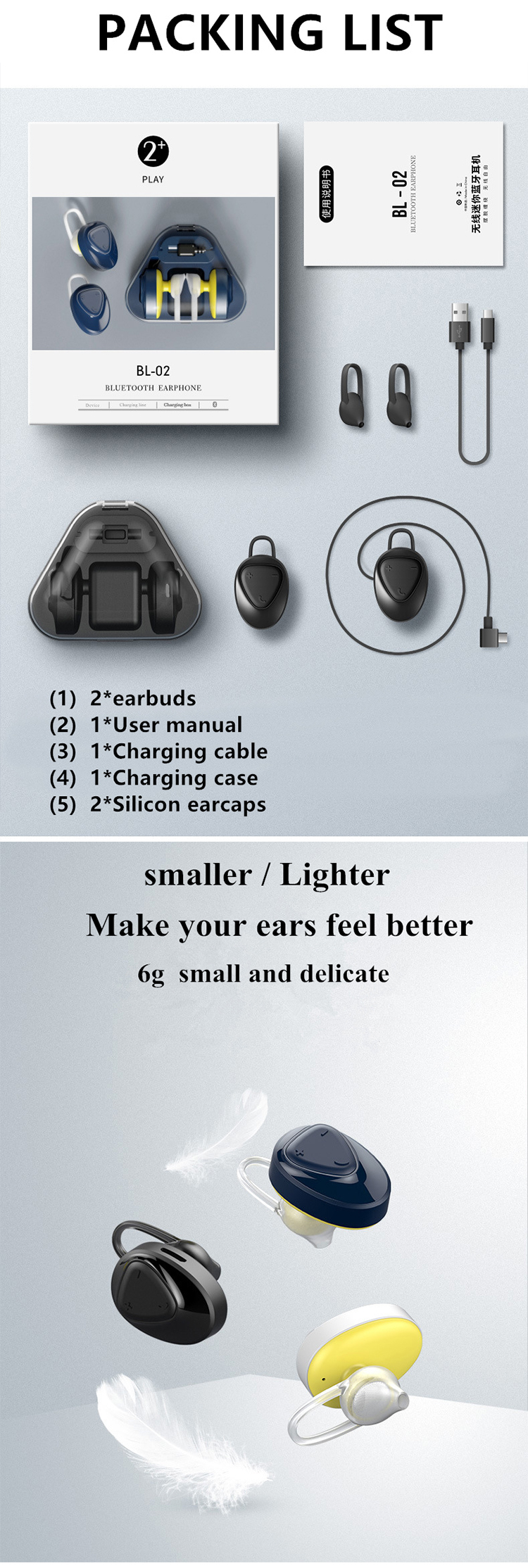 TWS Earphone Bluetooths Wireless Headphones Stereo Earbuds Bluetooths Headset with Charging Box