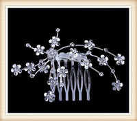 Chinese vintage bridal silver metal flower hair accessories rhinestone hair comb manufacturer