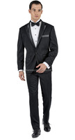 New arrival high end custom made 100% wool black satin lapel unique wedding tuxedos for men