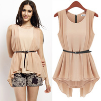 women top European Grand Prix 2014 under the frame of the new round neck sleeveless chiffon shirt wholesale Z573 women blouse