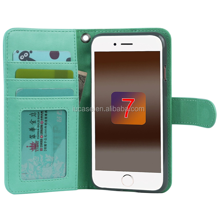 Hot Selling Custom PU Leather Stand Protective Wallet Cover for iPhone 7