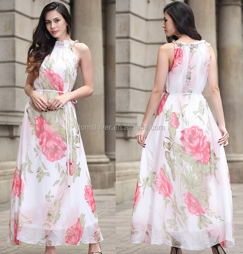 Inventory Australian Style <strong>7</strong> kind of Colors Floral Printed Chiffon Halter Long Dress Latest