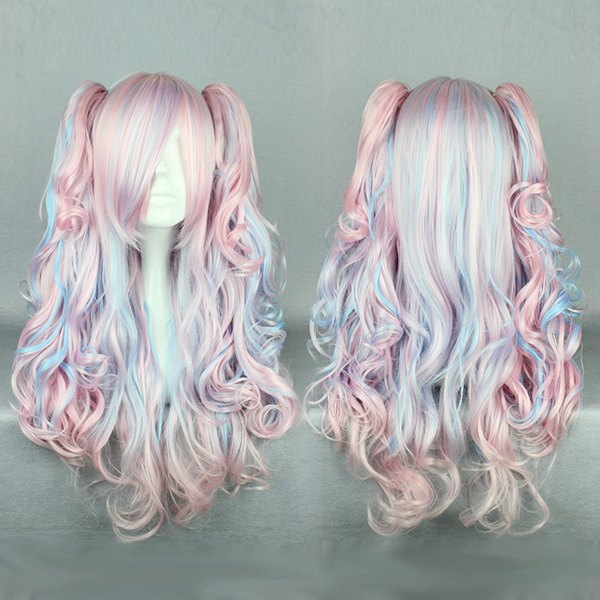 Fashion cosplay wig costume long Blue pink Lolita wigs with 55cm ponytails
