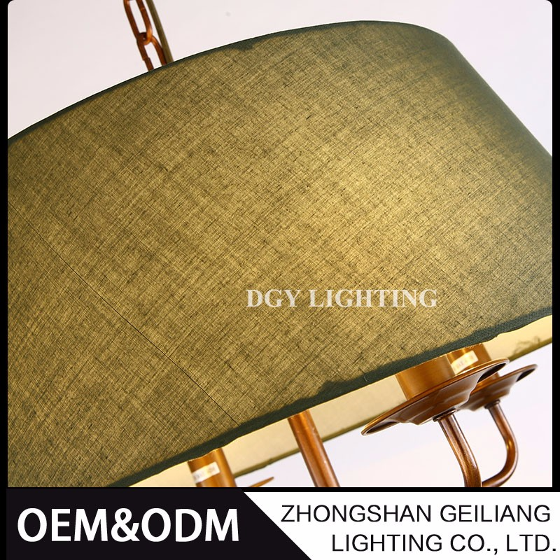 American pastoral style white and green fabric lampshade e14 pendant light