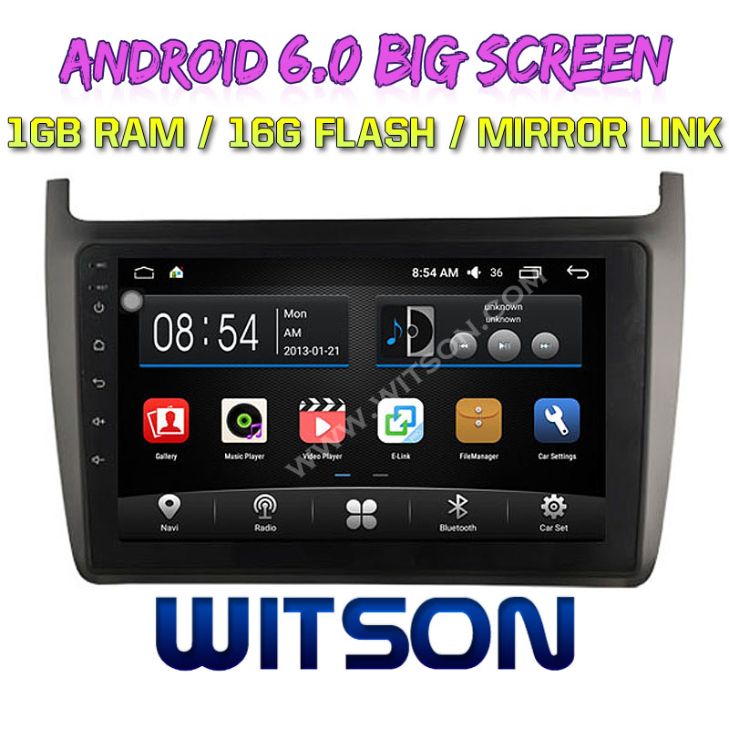 witson 9 grand cran android 6 0 auto radio lecteur dvd gps pour volkswagen polo 2012 id de. Black Bedroom Furniture Sets. Home Design Ideas