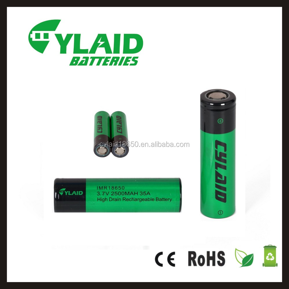Cylaid High capacity Rechargeable 18650 Battery 2500MAH 35A 3.7V aw IMR Battery in stock for electric cigarette mod