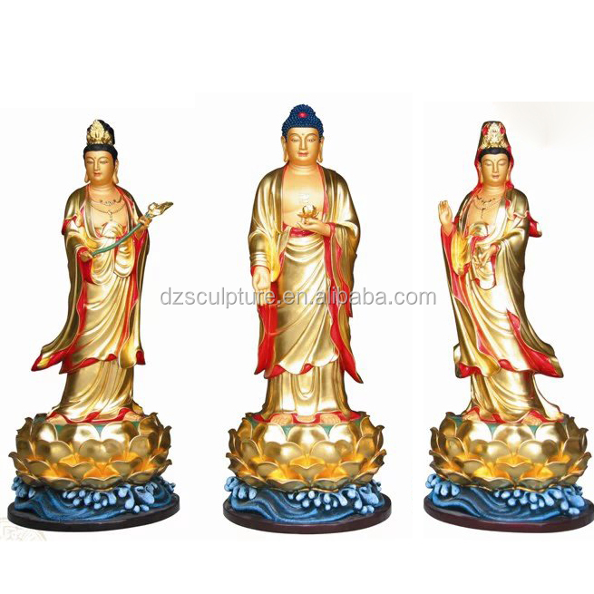 life size copper standing lord buddha statue with two guan yin