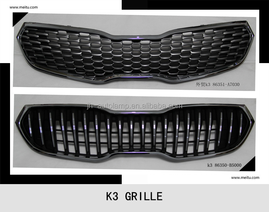 car accessories for ka k3 car chorme grille rio body kit radiator grille for k3