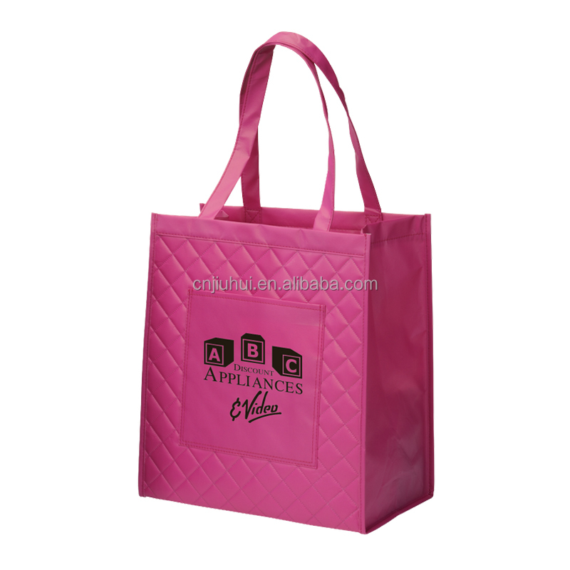 Fashion Style Pink Color Embossing Pattern Laminated Non Woven Shopping Bag