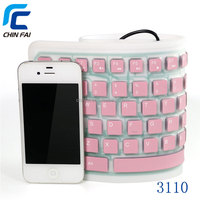 CE/FCC/RoHs New Fashion Mini Wireless Foldable Silicone Bluetooth Keyboard,Flexible Easy Taken Silicone Bluetooth Keyboard